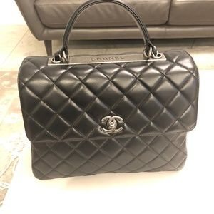 NEW Chanel CC top handle quilted lambskin Bag